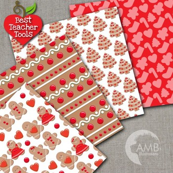 Christmas Digital Papers, Gingerbread Cookie Patterns and Backgrounds AMB-1501