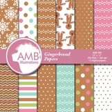 Christmas Digital Papers, Gingerbread Cookie Patterns and Backgrounds AMB-988