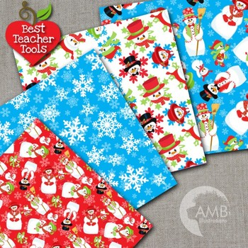Christmas Digital Papers, Holiday Backgrounds, Scrapbooking, Snowman AMB-1516