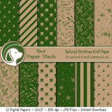 Christmas Digital Papers, Holiday Textured Backgrounds, Winter Scrapbook Paper