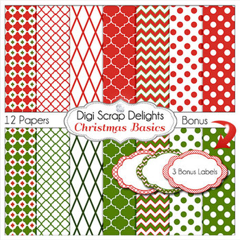 Christmas Digital Papers & Labels