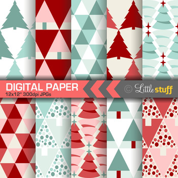 Christmas Digital Papers: Modern Triangles in Red and Green