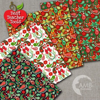 Christmas Digital Papers, Paisley Holiday Backgrounds AMB-1462