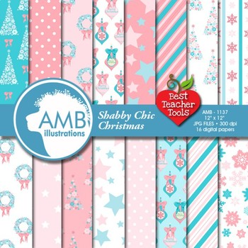 Christmas Digital Papers, Pastel Holiday Backgrounds AMB-1137