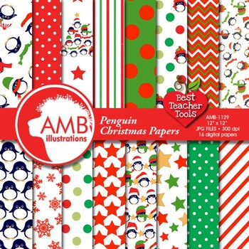Christmas Digital Papers, Penguin Digital Patterns, Holiday Backgrounds AMB-1129
