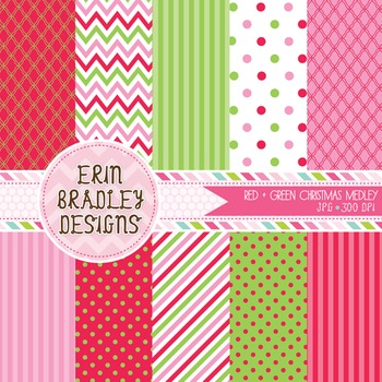 Christmas Digital Papers - Pink Green Red