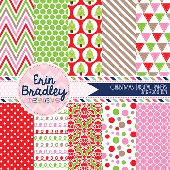 Christmas Digital Papers Pink Red and Green Printable Background Patterns