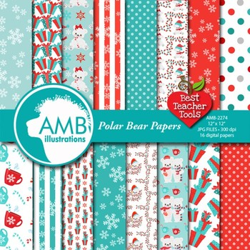 Christmas Digital Papers, Polar Bear papers, Winter Bears Backgrounds, AMB-2275