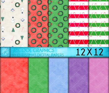 Christmas Digital Papers, Printable, Candy Canes, wreath, snowman