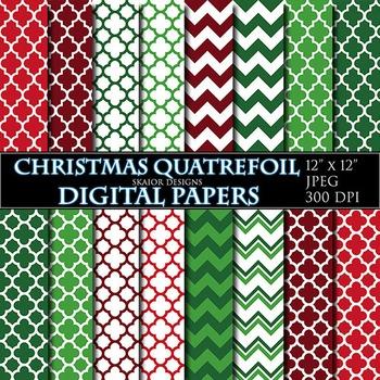 Christmas Digital Papers Quatrefoil Geometric Printable Green Red Chevron