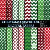 Christmas Digital Papers Quatrefoil Geometric Printable Gr