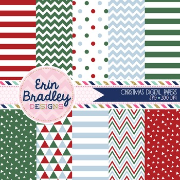 Christmas Digital Papers - Red Green Blue