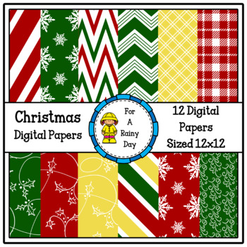 Christmas Digital Papers (Red, Green, & Yellow)