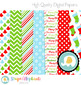 Christmas Digital Papers Red, Green and Blue