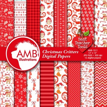 Christmas Digital Papers, Red and White Forest Critters Christmas, AMB-1511