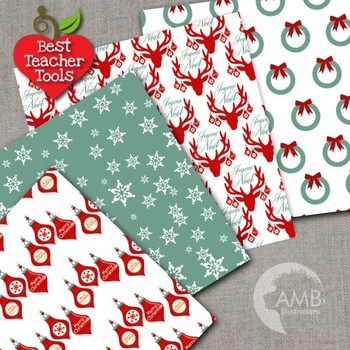 Christmas Digital Papers, Reindeer patterns Holiday Backgrounds AMB-1459