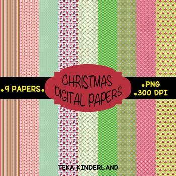 FREE Christmas Digital Papers TPT Kit [TeKa Kinderland]