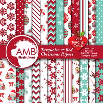 Christmas Digital Papers,Traditional Holiday Backgrounds AMB-1113