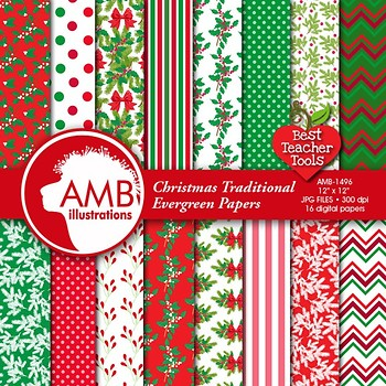 Christmas Digital Papers,Traditional Holiday Backgrounds, AMB-1496