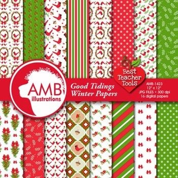 Christmas Digital Papers,Traditional Holiday Backgrounds, Cardinals AMB-1423