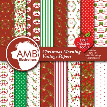 Christmas Digital Papers,Traditional Holiday Backgrounds, Cardinals AMB-1463