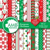 Christmas Digital Papers, Traditional Holiday Backgrounds,