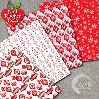 Christmas Digital Papers,Traditional Holiday Ornaments Backgrounds, AMB-1532