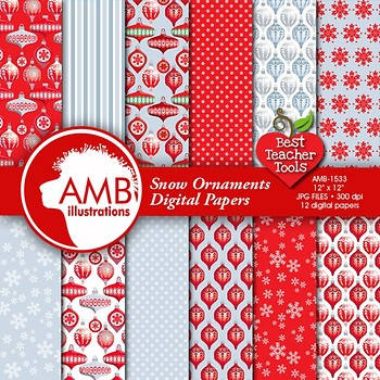 Christmas Digital Papers,Traditional Holiday Ornaments Backgrounds, AMB-1533
