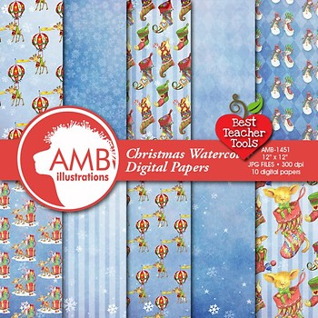 Christmas Digital Papers, Watercolor Backgrounds and Patterns, AMB-1468