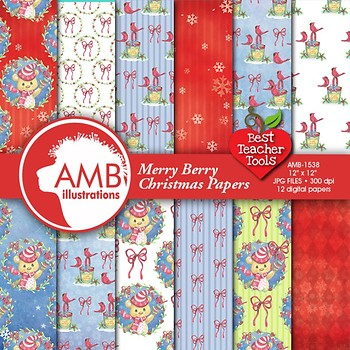 Christmas Digital Papers, Watercolor Bears Backgrounds and Patterns, AMB-1538