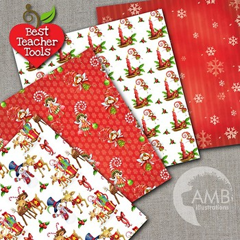 Christmas Digital Papers, Watercolor Patterns, Reindeer and Elves, AMB-1465