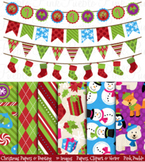Christmas Digital Papers and Bunting Clipart
