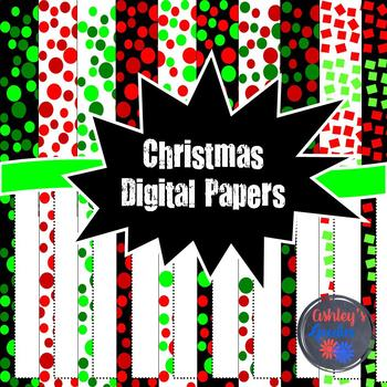 Christmas Digital Papers with Matching Frames