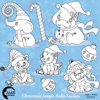 Christmas Digital Stamps, Jungle Animal Black Line Clipart, AMB-1065