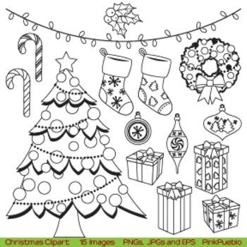 Christmas Digital Stamps or Christmas Line Art Clipart Clip Art
