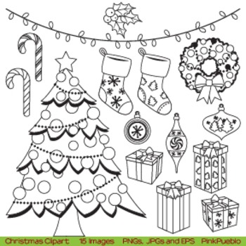 Christmas Digital Stamps or Christmas Line Art Clipart Clip Art