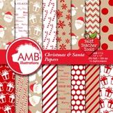 Christmas Digital paper, Traditional Holiday Backgrounds, Santa Theme AMB-1116