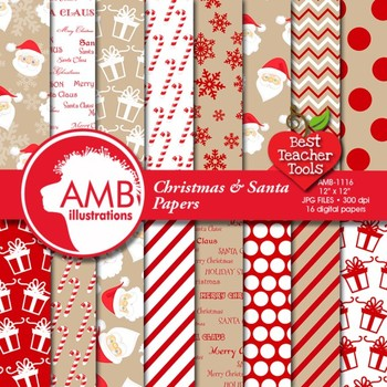 Christmas Digital paper, Traditional Holiday Backgrounds, Santa Theme AMB-1116