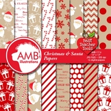 Christmas Digital paper, Traditional Holiday Backgrounds,