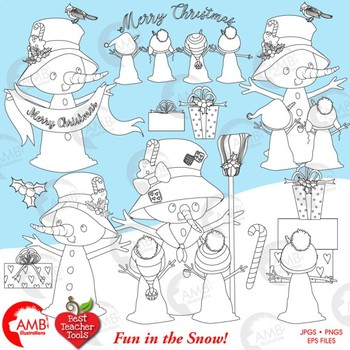 Christmas Digital stamps, Snowmen Digital Line Drawing, AMB-1130