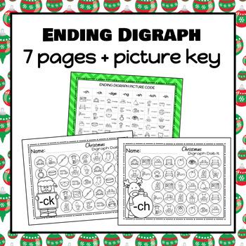 Christmas Digraph Dab It Worksheets