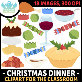 Christmas Dinner Clipart.Christmas Dinner Clipart Instant Download Vector Art Commercial Use Clip Art