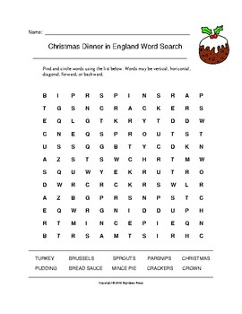 Christmas Dinner in England Word Search (Grades 2-4)
