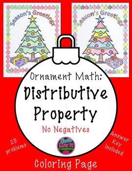 Christmas Math Distributive Property Color by Number Surpr
