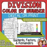 Christmas Division Color by Number  4 Worksheets Print or Digital