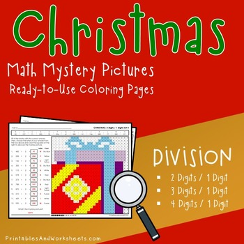 Christmas Math Division, Christmas Division Mystery Pictures Color by Number