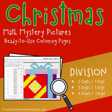 Christmas Division Worksheets, December Coloring Sheets Math Mystery Pictures
