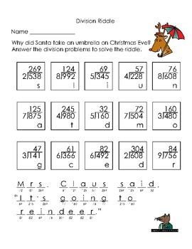Christmas Long Division Riddle