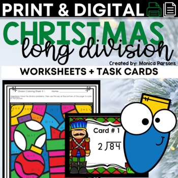 Christmas Division Task Cards (with and without QR codes)