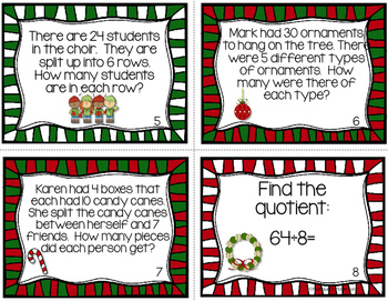 Christmas Division Task Cards - 3rd Grade